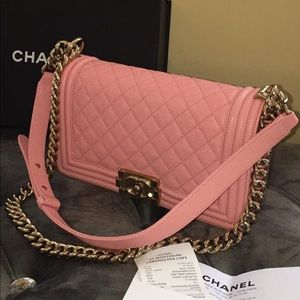 Authentic Chanel Pink Caviar Quilted Medium Boy